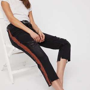 One Teaspoon Black and Chestnut Crop Flare Jeans